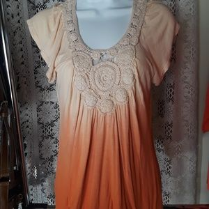 👚One World Peach Ombre Crochet Trim Top Sz S Boho